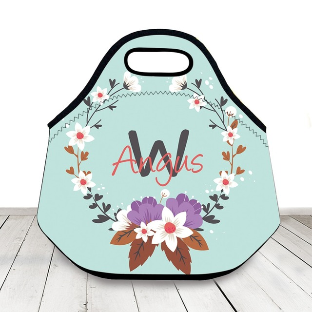 ed9a3de0a38a US $15.99 20% OFF|Personalized Name Floral Lunch Bag,Insulated Lunch Tote  For Woman,Neoprene Lunch Bag,Back To School Birthday Gift For Girl-in ...