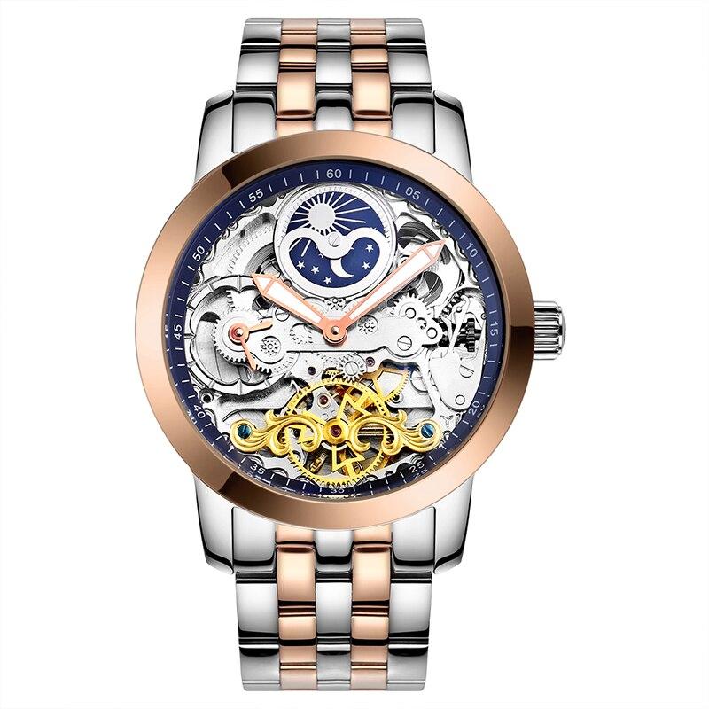 лучшая цена AILANG 6812 Switzerland watches men luxury brand thin hollow automatic mechanical moon phase Tourbillon fashionable high quality