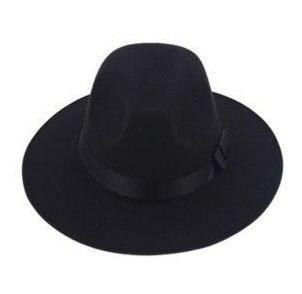 Модные Винтаж Для женщин шляпа с широкими полями ленты теплая шерсть Смеси фетровая шляпа котелок Fedora Кепки - Цвет: black