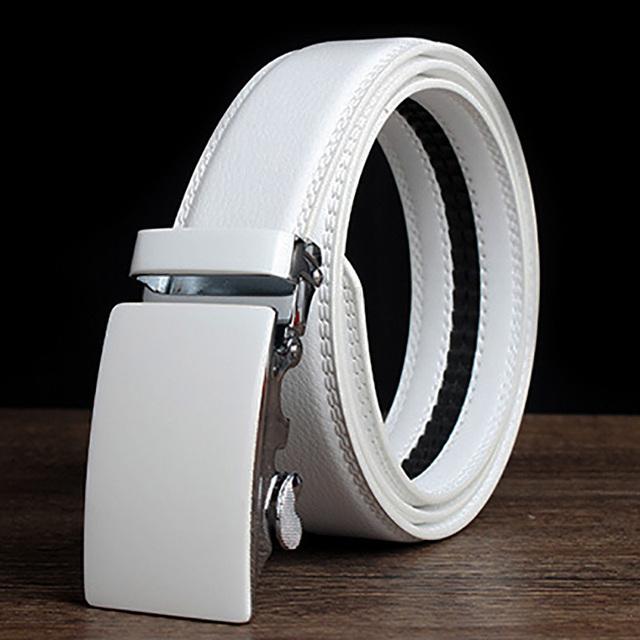 2016 Nueva Casual Diseñadores Cuero de la Marca de Lujo de cuero de Vaca Correas de Cintura de la Correa para Hombre de Alta Calidad Masculina Piel de Vaca Ceinture Homme Blanco