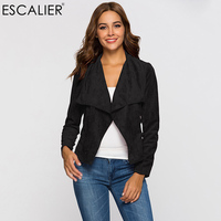 Escalier Fashion Women Coats Summer Faux Leather Suede Open Stitch Outerwear Party Casual Jacket Small Suit Style Design