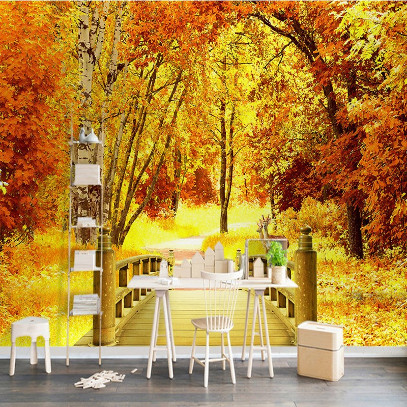Custom photo wallpaper Golden Autumn Trees Wooden Bridge mural TV Background Wall Living Room Restaurant Corridors wallpaper flame trees of thika