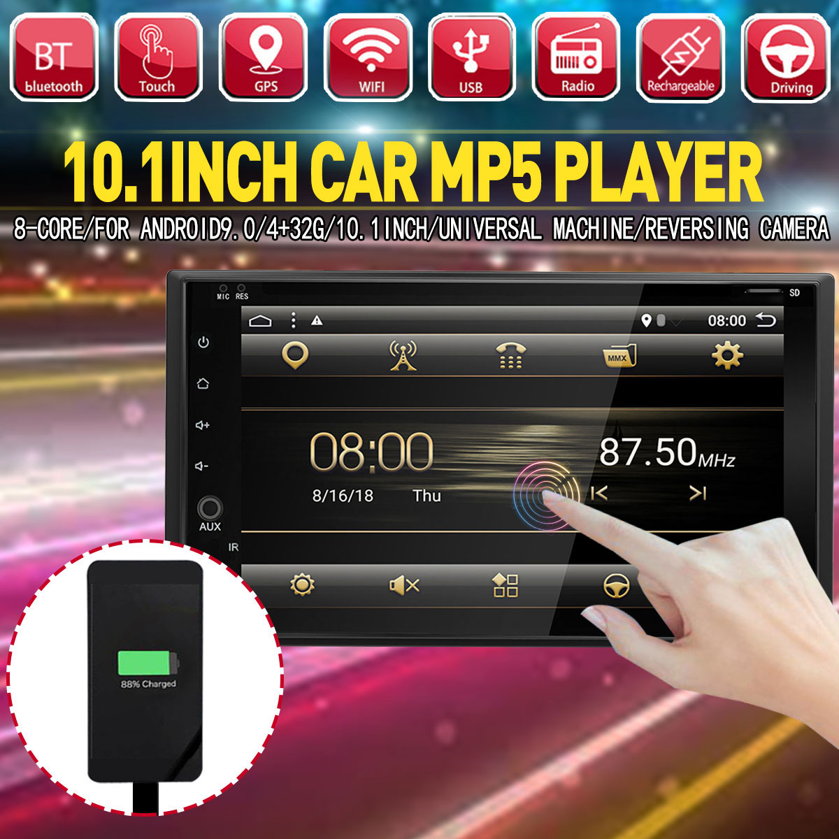 10.1 8core 4+32G Android 9.0 Car MP5 Player 2DIN bluetooth Radio PX6 GPS For Universal Car Multimedia Player+Backup Camera10.1 8core 4+32G Android 9.0 Car MP5 Player 2DIN bluetooth Radio PX6 GPS For Universal Car Multimedia Player+Backup Camera