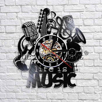 1Piece Life Is Music Vintage Vinyl Record Wall Clock Antique Musical Clock 3D Watches Modern Design Home Clocks Great Gift Idea