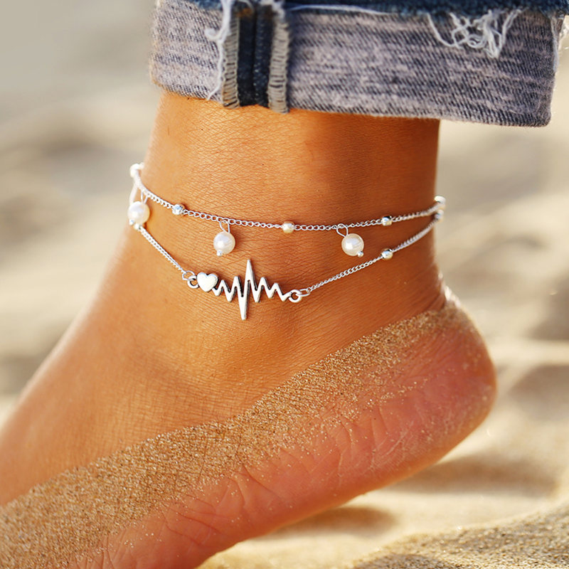 IF ME BOHO Multilayers Animal Anklets for Women Vintage Silver Color Turtle Shell Beach Ankle Bracelet on Foot Fashion Jewelry 5