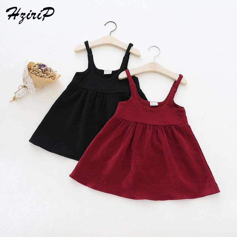2017 New Kids Clothing Winter Autumn Dresses Girls Dress Cotton Solid Color Fashion Sling Dress Baby Children Clothes 9-48Month