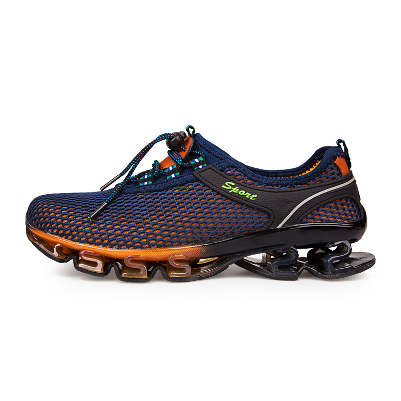 Men Elastic Band Rubber Sole Running Shoes Outdoor Sport Blade Shoes Male  Cushioning Blue Gray Women Unisex Light Color Sneakers-in Running Shoes  from ... 5848c9cc0000