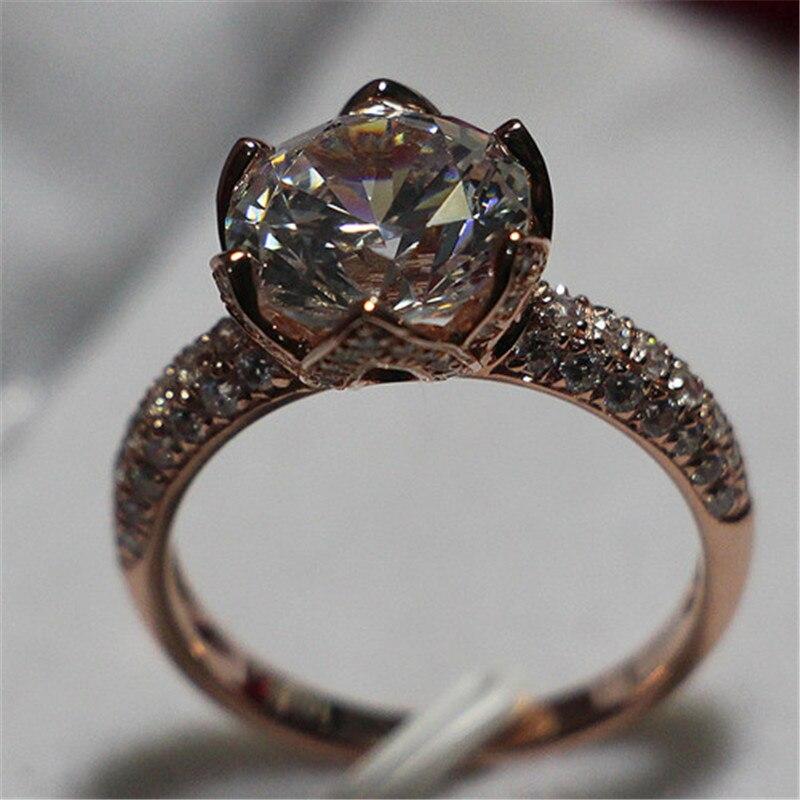 CHARLES COLVARD Brand Lotus Diamond Ring 4Ct Round Cut Moissanite