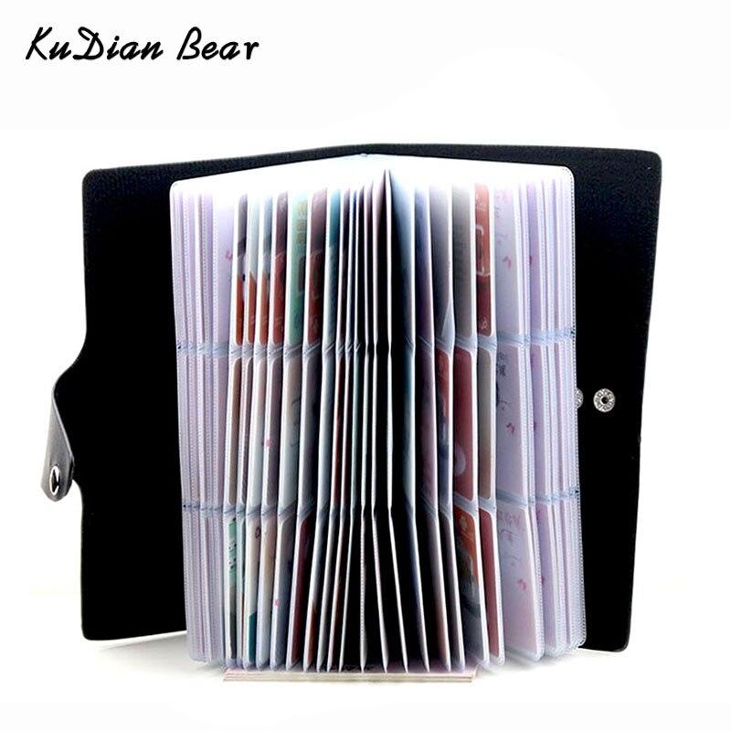 Kudian urso 120 cartões de visita titular do cartão de crédito carteira capa do cartão sacos organizador do cartão de viagem porte carte bih071 pm49