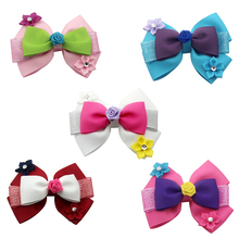 5 pcs 3 Inch Cute cartoon Hair Bows for Kids Double Layers Swallowtail Soft Glitter Clips Girls Accessories gifts