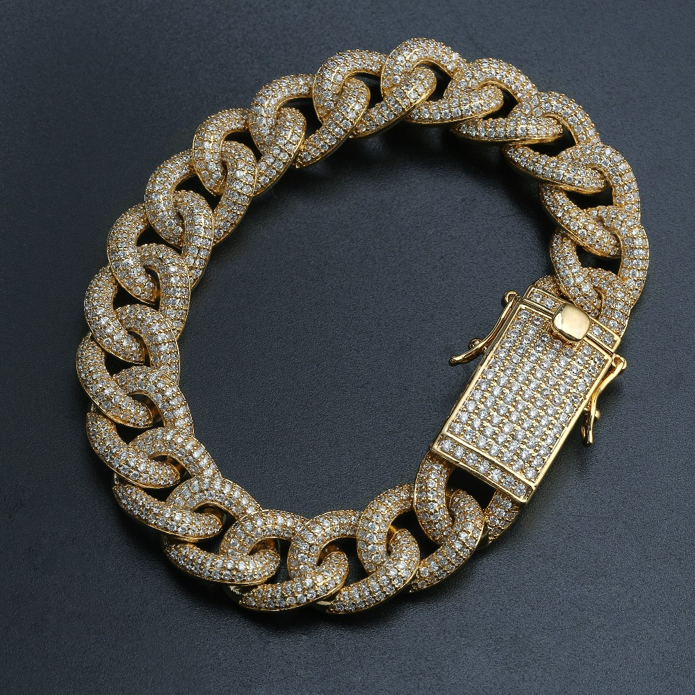 10mm Full Iced Zirconia Curb Cuban Link Bracelet Long Bail Mens Gold Silver Color Personalized Micro