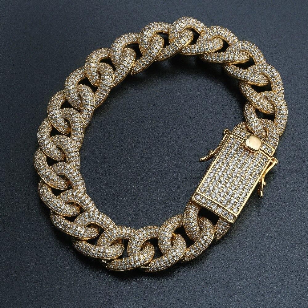 10mm plein glacé zircone gourmette cubain lien Bracelet Long Bail hommes or argent couleur personnalisé Micro Pave Bracelet charme bijoux