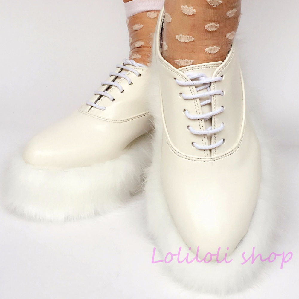 Princess sweet lolita shoes Japanese design customized special shaped shoes white matte tie sole with hair platform shoes 4174 цена