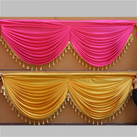 Ice Silk Wedding Backdrop Swags with Tassel for Wedding Party Decoration Custom size and colors fast ship