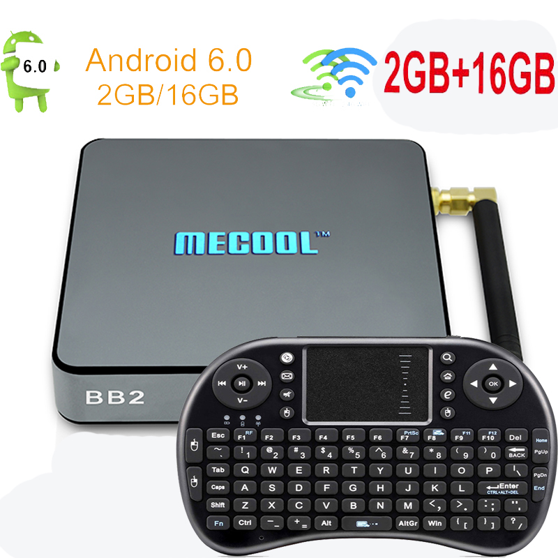 MECOOL S912 BB2 Android TV Box Amlogic 64 bits Octa Core RAM 2G ROM 16G 2.4G/5G