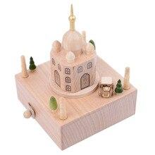 Hot Sale Vintage Indian Taj Mahal Wooden Music Box 156 Tones Handicraft Home Decoration Christmas Wedding Birthday Gift