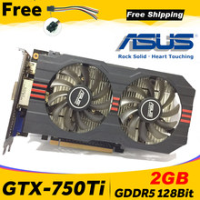Asus GTX-750TI-OC-2GB gtx750ti gtx 750ti 2g d5 ddr5 128 bit pci express 3.0 placa de vídeo do computador hdmi placas gráficas desktop(China)