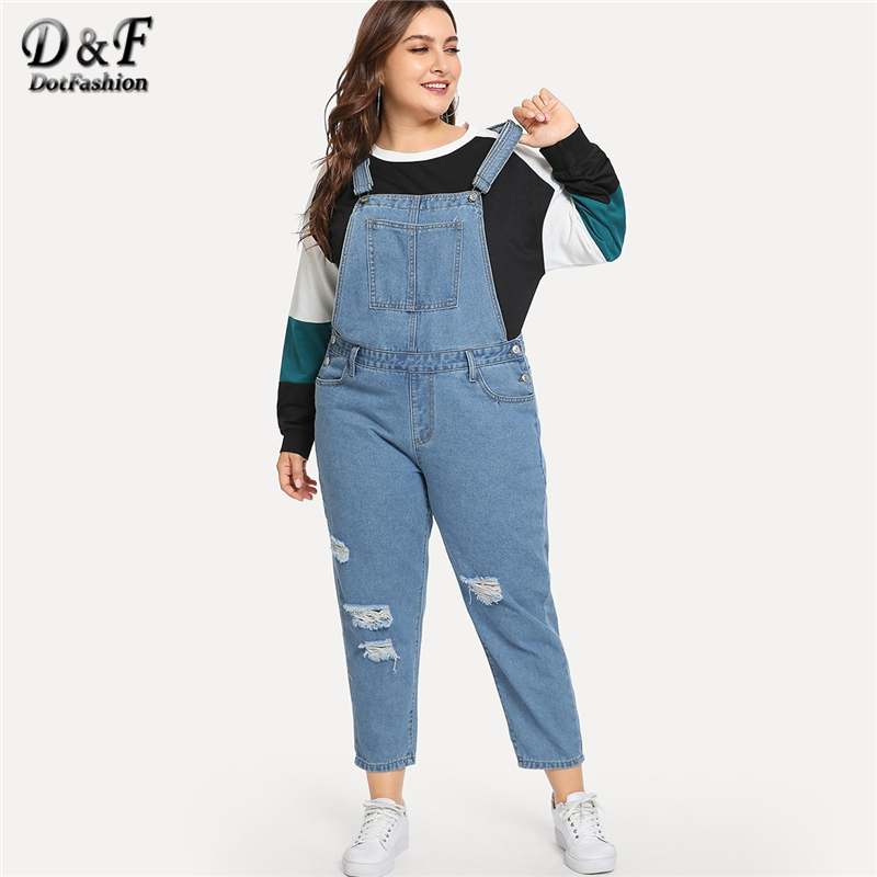 Dotfashion Plus Size Blue Rips Detail Denim   Jumpsuits   For Women 2019 Clothing Autumn Casual Plain Female Spring Fashion Overalls