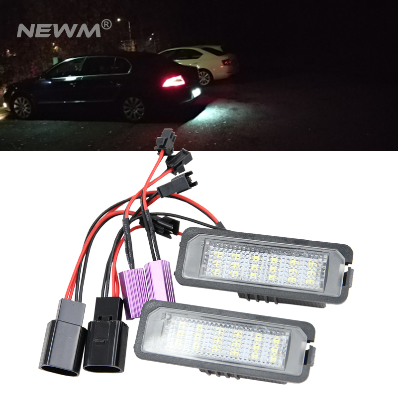 2X 18 LED Canbus Auto Number License Plate Light Car Styling Lamp Bulbs For VW Altea EOS Polo Passat Skoda Superb Golf 5/6/4 камера заднего вида для skoda и vw intro vdc 048 skoda fabia 2007 2014 skoda superb 2008 2014 vw golf vii 2012 2014 vw polo 2009 2013