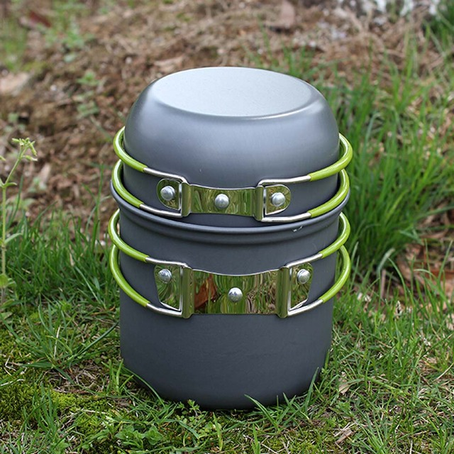 DS-101 Outdoor Cooking SetPortable Outdoor Cooking Set Anodised Aluminum Non-stick Pot Bowl Cookware Camping Picnic Hiking