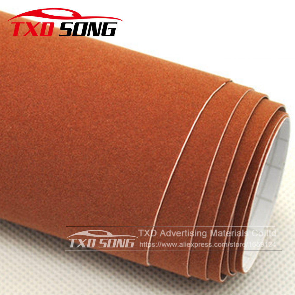 Like Real suede fabric material brown Velvet Film car wrapping velvet vinyl film Automotive Decals sticker 10/20/30/40/50/60CM hot sale 1 35x15m air release channel car velvet fabric film velvet vinyl car wrap red