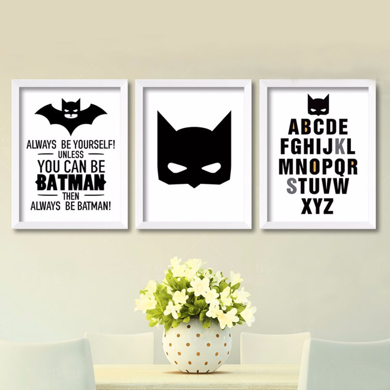 Cartoon Batman Canvas Art Print , Superhero Painting Poster Nursery Batman  Wall Pictures For Kids Room Decor In Painting U0026 Calligraphy From Home U0026  Garden On ...