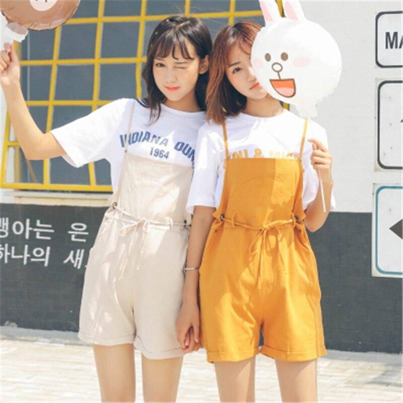 где купить 2017 Summer New Fashion Solid Linen Cute Kawaii Harajuku Pockets Causal Loose Women High Waist Drawstring Overalls Shorts Pants по лучшей цене