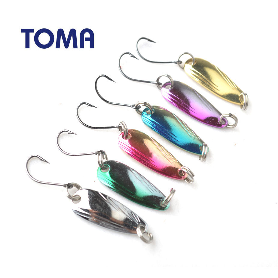 TOMA 10pcs Fishing Lures Spoon Sequin Paillette Baits 2.5g 6colors Micro Trout Wobbler Fishing Lure Spinner Bait