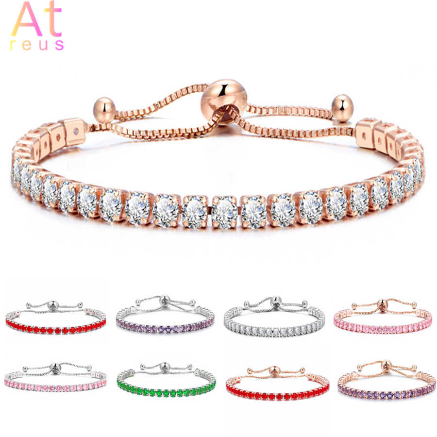 Zirconia Adjustable Bracelet Bangle for Women Captivate Bar Slider Brilliant CZ Rose Gold/Silver Color Jewelry Pulseira Feminina