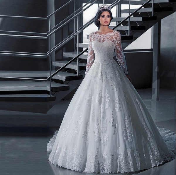 49c24f246abb Detail Feedback Questions about 2018 Boat Neck Cheap Robe de Mariage Cheap  Wedding Dresses With Long Sleev Women Ball Gown Wedding Dress Vestido de  Noiva ...