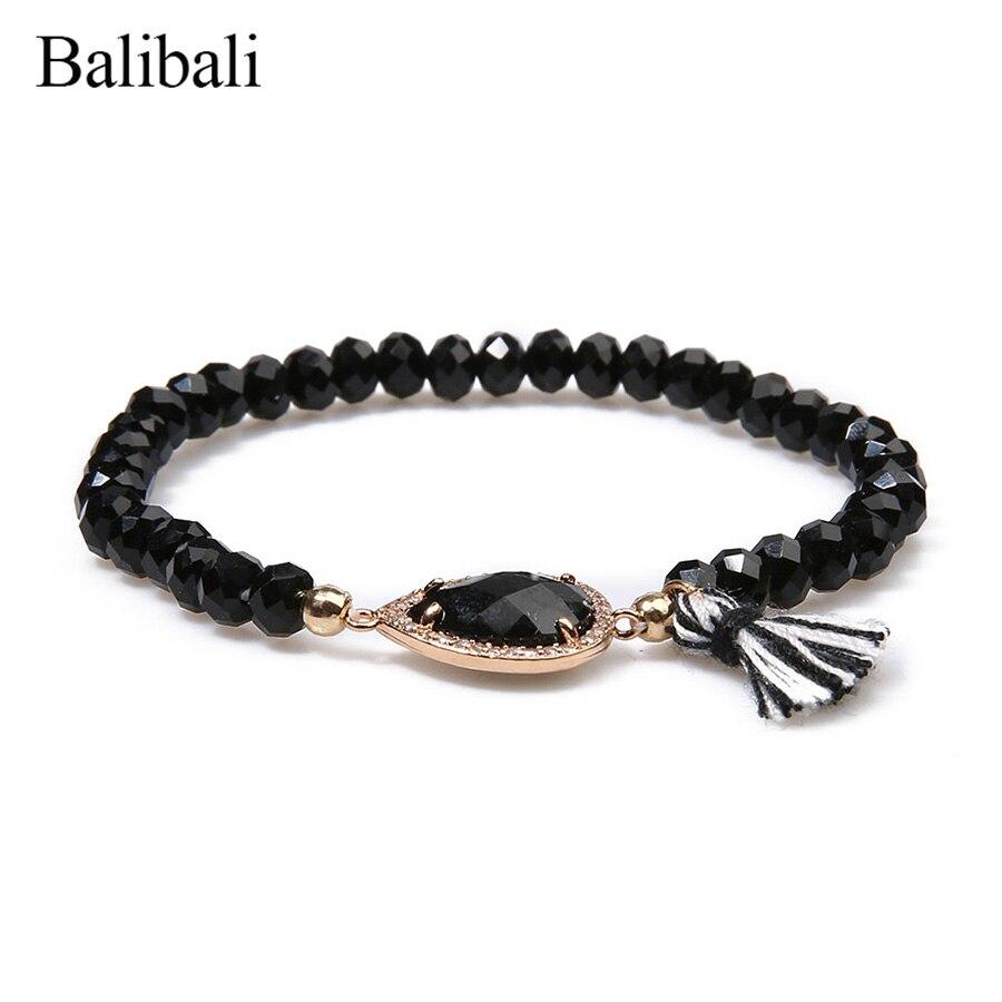 Balibali Women Trendy Druzy Crystal Bracelet Irregular Geode Connector Natural Stone Pendant Bracelets Men Jewelry Yoga Bileklik