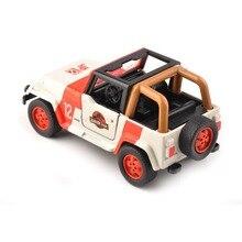 цены на Children Gift Toys 1/32 Alloy Diecast Jeep Wrangler Jurassic Park 1/32 Scale Orange/White Diecast Car Model Toys Cheap Kids Toys  в интернет-магазинах