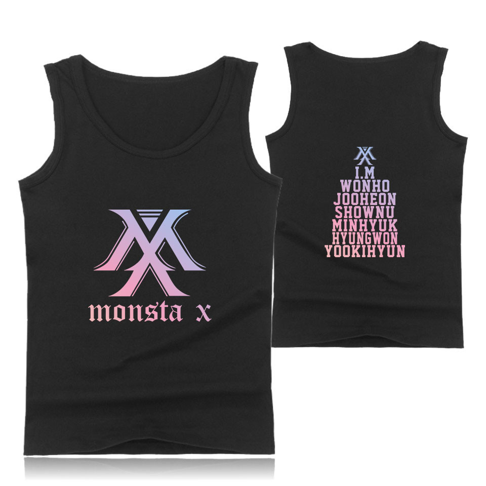 LUCKYFRIDAYF K Pop Korea MONSTA X Idol Team Tank Top Cotton Workout Fashion MONSTA X Female Male Fans Casual Sleeveless Vest in Tank Tops from Men 39 s Clothing