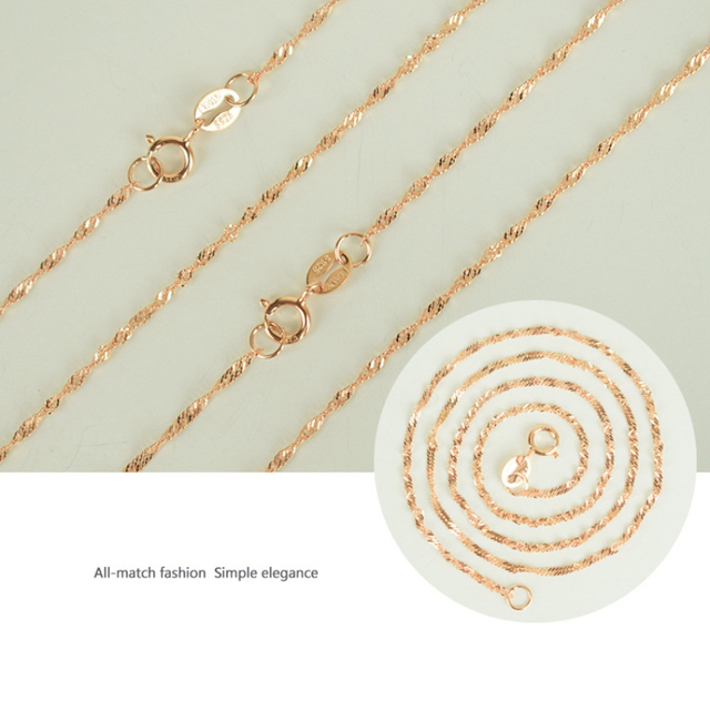 Italy Made 925 Sterling Silver Rose Gold Color Twisted Singapore