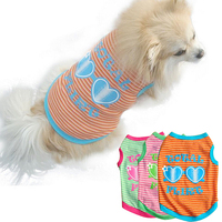 Fashion Cute Pet Puppy Dog Cat Summer Stripes Love Heart Vest Top