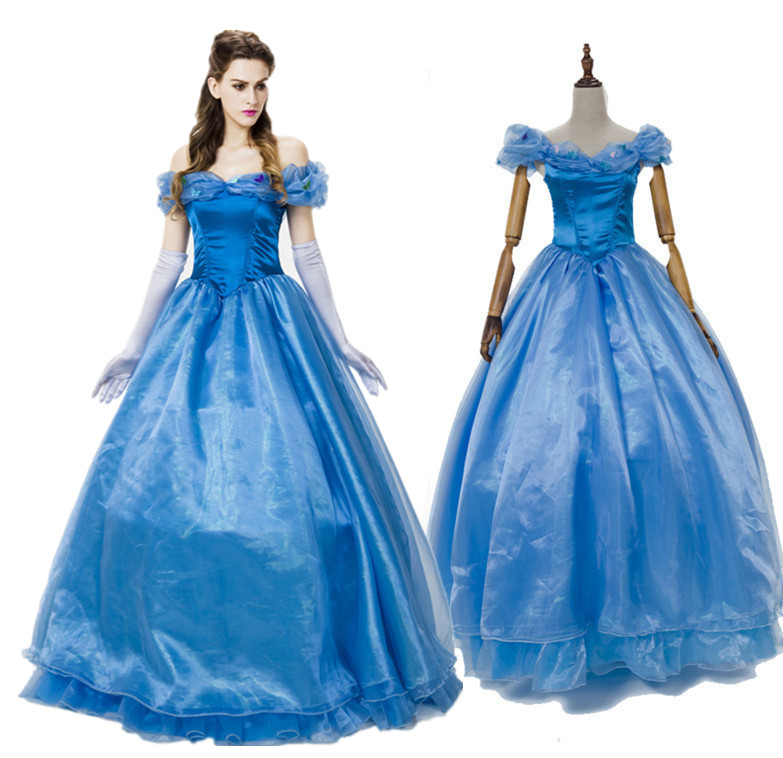 High Quality Adult Cinderella Costume Cosplay Fantasia Halloween Costumes For Women Princess Dress Fancy Party Dress