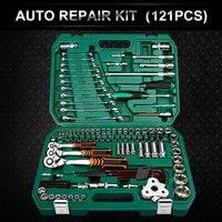 121 шт. Инструменты для ремонта автомобилей механик набор инструментов гнездо гаечные ключи инструменты для авто, Двусторонняя отвертка наб