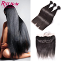 Straight Indian Virgin Hair With Closure Full Frontal Lace Closure13x4 With Bundles Ear To Ear Lace Frontal Closure With Bundles