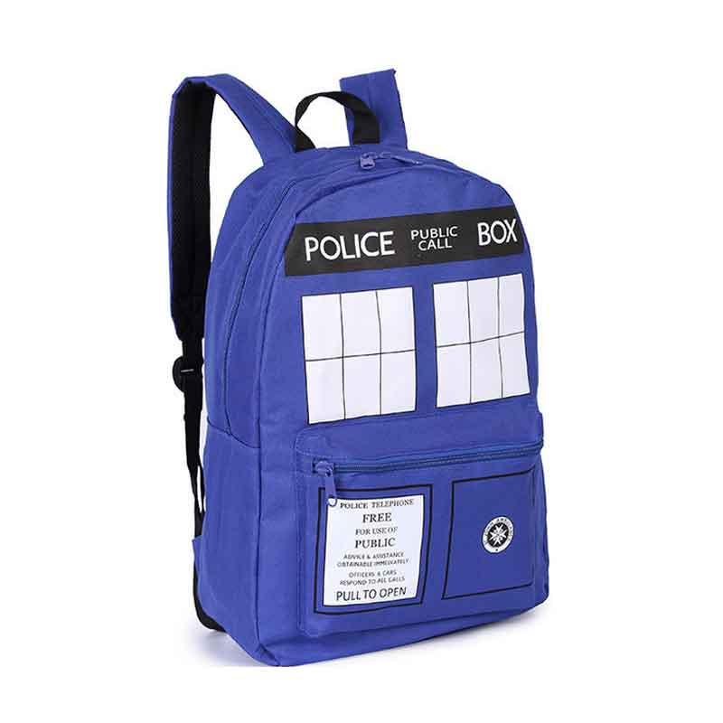 2018 Rushed Arcuate Shoulder Strap School Bags New Womens Tardis Backpacks Doctor Who Backpack Woman&men Travel Bag