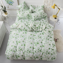 Green leaf Print Duvet Cover set with pillowcase King Bed best gift bedding bedlinen leaves fresh bedclothes 4PCS Set