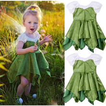 Emmababy Baby Girl Clothes Birthday Dress Cute arrival O-Neck A-Line Ruched Short Sleeve Patchwork Knee-Length Light Green