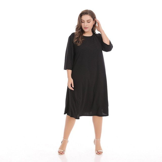 Brand plus size loose dresses O Neck Mid Calf casual three quarter sleeve  dress oversize Elegant dresses Vestidos Big Size B017-in Dresses from ...