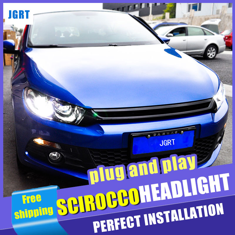Car Styling Headlight assembly 2009-2015 for VW Scirocco DoubleU Angel Eye LED DRL Lens Double Beam H7 with hid kit 2 pcs. hireno headlamp for volkswagen tiguan 2017 headlight headlight assembly led drl angel lens double beam hid xenon 2pcs