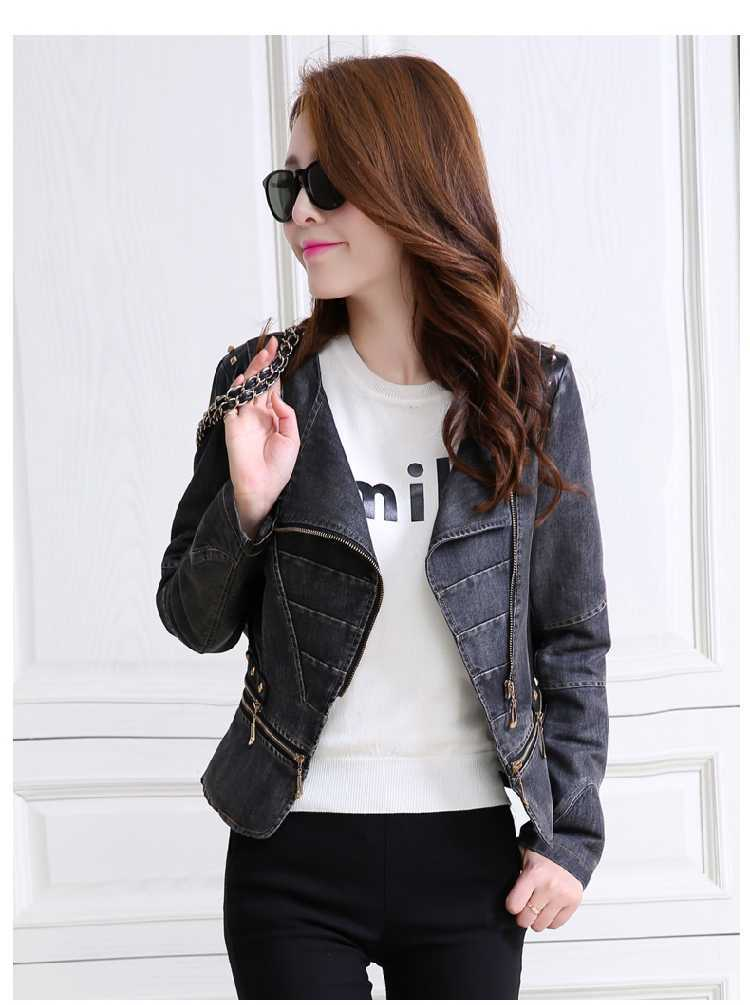 2015 New Denim Jacket With Leather Sleeves Jaqueta Jeans ...
