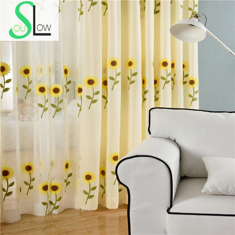 Sunflower Embroidered Curtain Korean Style Floral Curtains For Living Room Window Quality Curtain Cortinas Rideau Gardinen