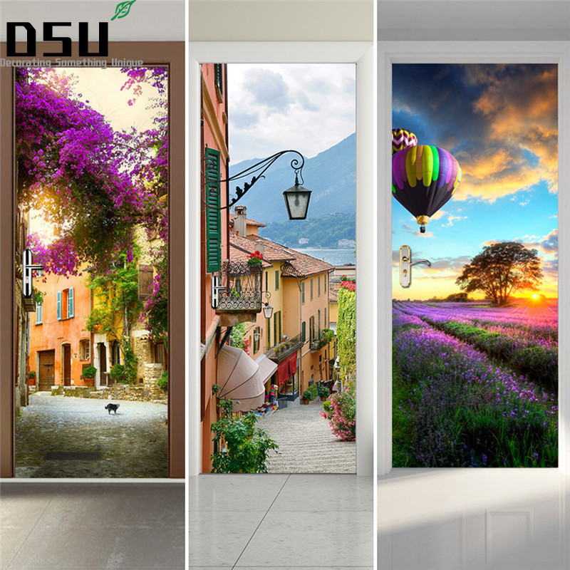 Door Stickers Landscape Waterproof Living Room Bedroom Door Wallpaper Self Adhesive Art Wall Decals Imitation 3D Wall Sticker