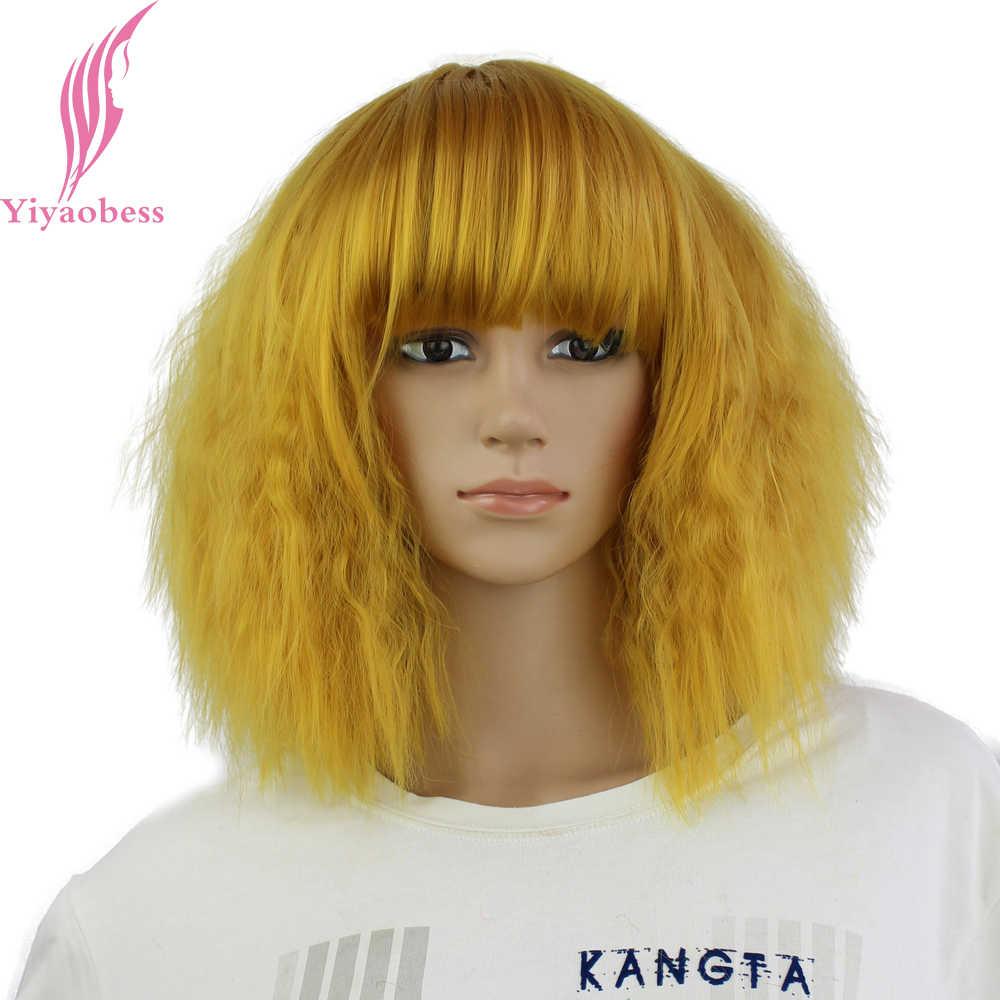 Yiyaobess-perruque synthétique lisse 14 pouces | Perruque avec frange, cheveux crépus de Cosplay, rouge doré, Auburn, jaune, bleu, rose, marron, courte pour femmes