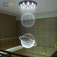 led g10 Modern Stainless Steel Crystal Globe LED Lamp.LED Light.Ceiling Lights.LED Ceiling Light.Ceiling Lamp For Staircase Hall