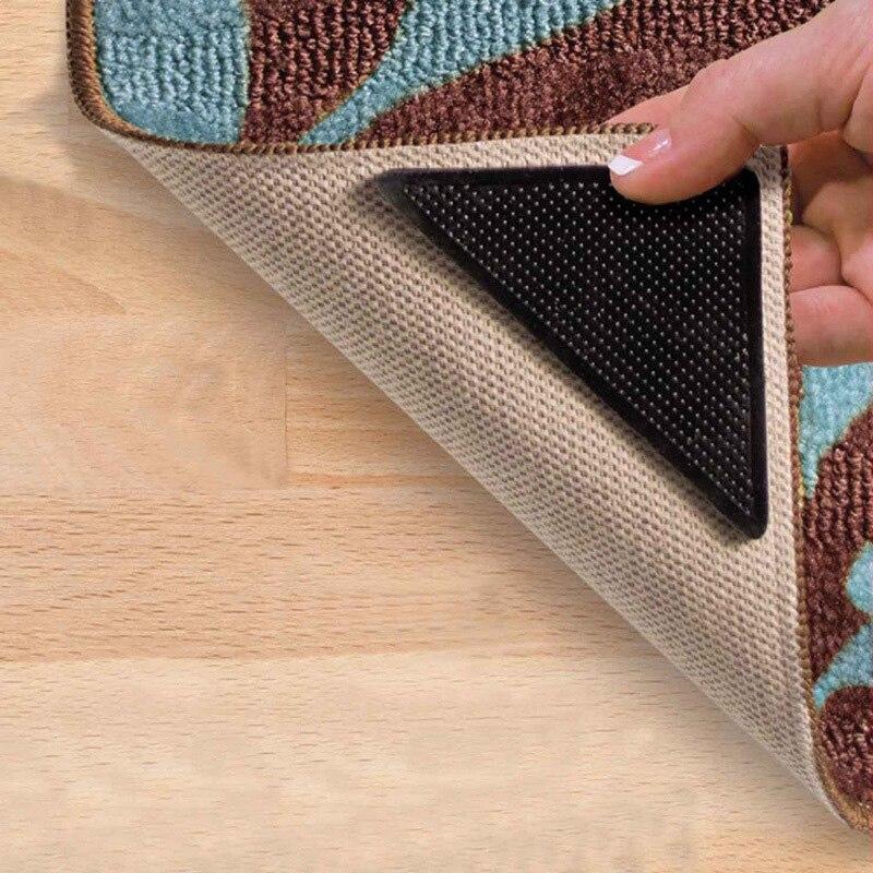 Washable Rugs Non Slip: 4pcs Rug Carpet Mat Grippers Triangle Non Slip Reusable