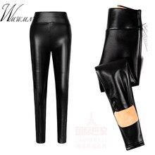 68ab8086c321e Wysokiej Qualiaty Pu skóra aksamitna ołówek spodnie 2018 czarny jesień zima  grube ciepłe legginsy Plus rozmiar